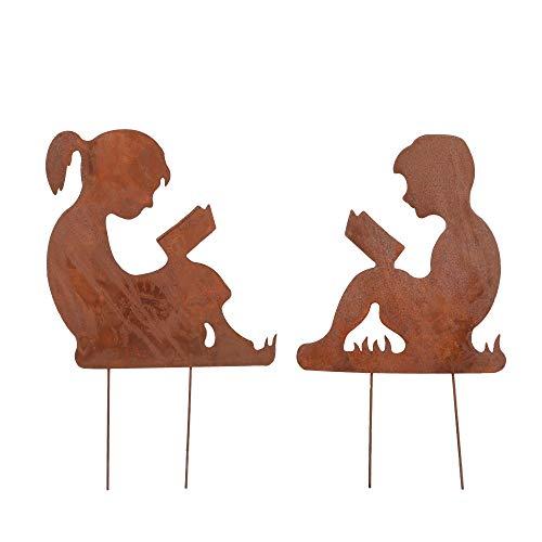 RM Design Gartendekoration Roststecker Gartenfiguren Junge & Mädchen 30 x 26 cm, 2er Set