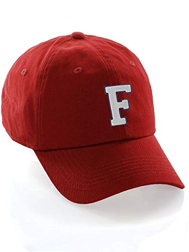 Customized Letter Intial Baseball Hat A to Z Team Colors, Red Cap Blue White Letter F