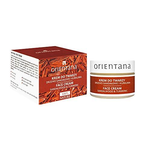 Orientana 99,5% Natürliche Gesichtscreme für Damen mit Sandelholz und Kurkuma - Vegan Anti Aging Bio Feuchtigkeitscreme - Normale Unreine Trockene Haut & Mischhaut - Tag & Nacht Gesichtspflege, 50g