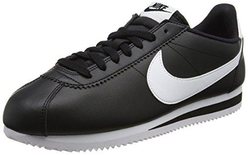 Nike Damen Wmns Classic Cortez Leather Turnschuhe, Bianco, 36,5 EU, Schwarz (Black / White-White), 39 EU