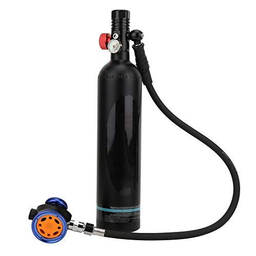 FEBT Mini Equipo de Buceo de 1 litro, Tanque de Aire vacío para Buceo portátil Cilindro de oxígeno subacuático con válvula de respiración de Grado secundario de Metal Equipo de Buceo(Negro)