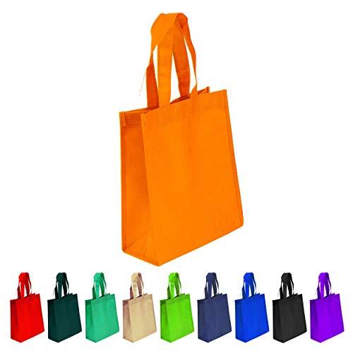10 Pack Non-woven Reusable Tote Bags, Heavy Duty Non-woven Polypropylene, Small Gift Tote Bag, Book Bag, Non Woven Bag Multipurpose Art Craft Screen Print School Bag (Orange, Set of 10)