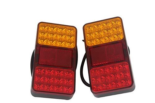 Hehemm 24 LED Remorque Camion Feux arrière de frein Stop Tail Turn Indicateur lampe 10–30 V (lot de 2)