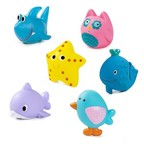 MOOKLIN ROAM 6pcs Juguetes de Baño Animales Marinos para Bebé Niños, Juguetes de Natación del Flotante Coloridos, Seguro sin BPA para Bebés Baño Piscina Playa