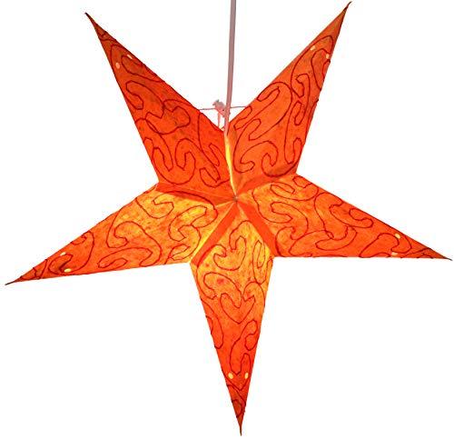 Guru-Shop Faltbarer Advents Leucht Papierstern, Weihnachtsstern 40 cm - Mercury Small Orange, Star Fensterdeko, 5 Spitzen