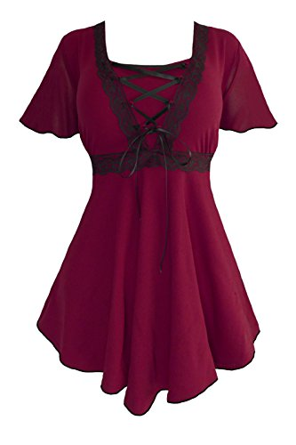 Dare to Wear Angel Corset Top: Victorian Gothic Grecian Women's Plus Size Empress Blouse for Everyday Halloween Cosplay Festivals, Burgundy/Black 1x