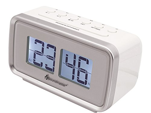 Soundmaster UR105WE Retro PLL UKW Radiowecker mit Dualalarm, LCD Display