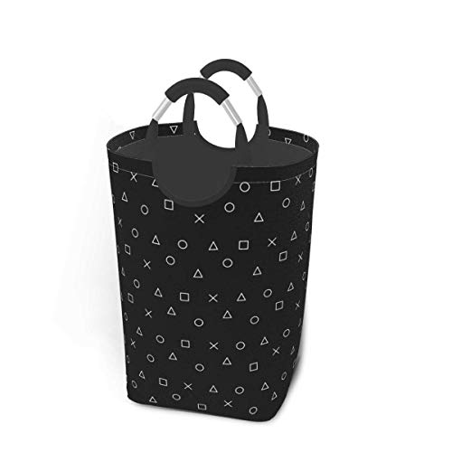 XCNGG Laundry Hamper Storage Bin Black Gaming Pattern Gamer Design Large Collapsible Storage Basket for Dirty Clothes Toys Books
