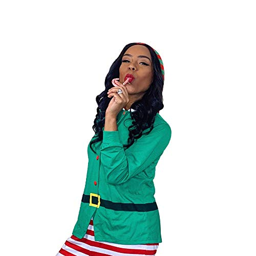IFFEI Family Matching Christmas Pajamas Set One Piece Striped Hooded Sleepwear Santa Claus Elf Cosplay Outfit for Kids Adult Women: S