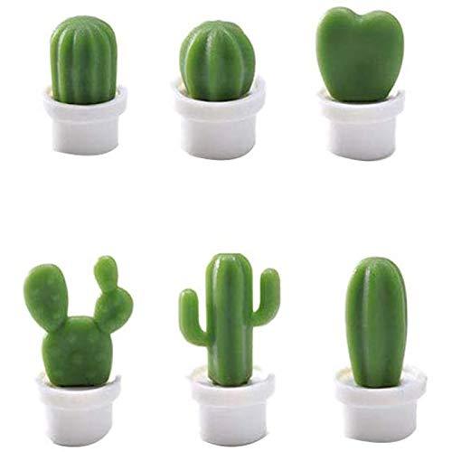 Bilibony Imanes De Frigorífico, Etiqueta Engomada del Mensaje del Imán del Refrigerador del Cactus Creativo, La Planta En Maceta del Cactus 3D, El Imán del Refrigerador del Imán (Color : A)