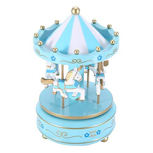 4 Hästar Karusell Karusell speldosa karusell speldosa gåva f u r flickvän barn Barn jul (blå)
