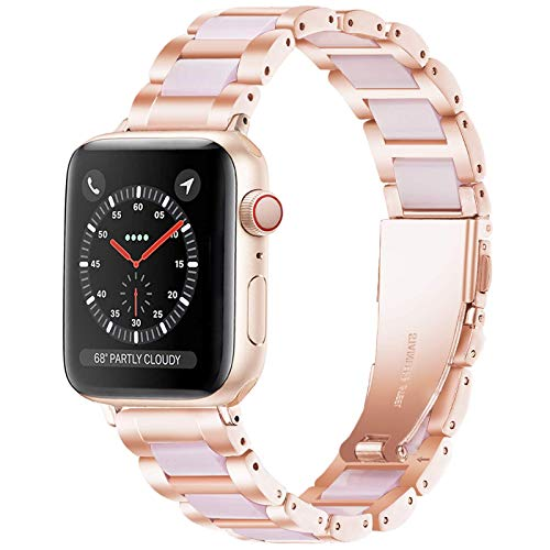 Light Apple Watch Strap-Resin with Stainless Steel iWatch Band Bracelet Compatible with Stainless steel buckle for Apple Watch Series SE 6 5 4 3 2 1(Rose-Pink, 38mm/40mm)