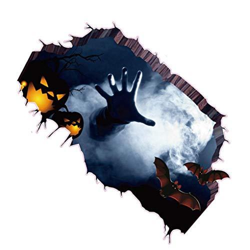 Yihaifu Fantasma de Halloween 3D Mano Bat rayar la Pared Agrietada Mano Bat Paredes asustadiza Pegatina de Suelo de PVC Desmontable Calcomanías Tatuaje del Papel Pintado
