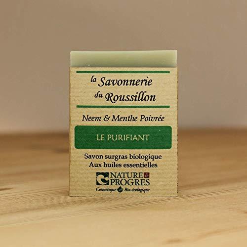 Savon Surgras Bio - Neem & Menthe Poivrée - Le Purifiant - Nature & Progrès