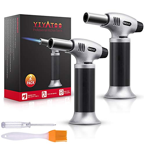 YIYATOO Professional Kitchen Torch Quality Butane Gas Not Included for Home Chef#039s Kitchen for Searing Food Meat Crème Brule | Adjustable Flame MAX 2372°F – for Cooking Baking BBQ Home Use