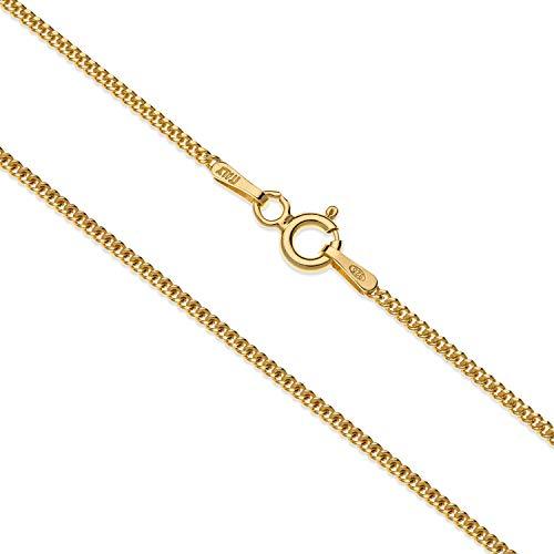 Aka Gioielli® - Collier Femme Argent Fin Sterling 925 Plaqué Or - Chaîne Maille Gourmette 1.3 mm - Longueur: 40 cm