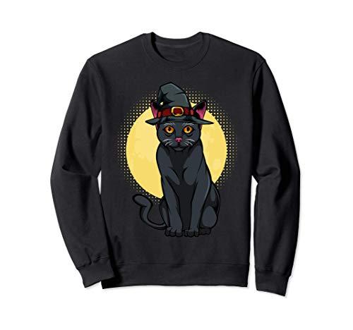 Gato negro Gorro de bruja Luna Animal de Halloween Gatito Sudadera