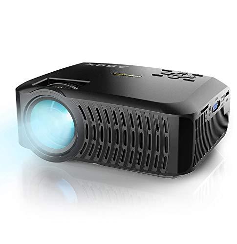 ABOX Beamer unterstützt 1080P Full HD Native 720P Auflösung 3600 Lumen mit tragbarer Tasche,LED Videoprojektor,Verbindung mit HDMI VGA SD USB AV Gerät, Heimkino -Grau