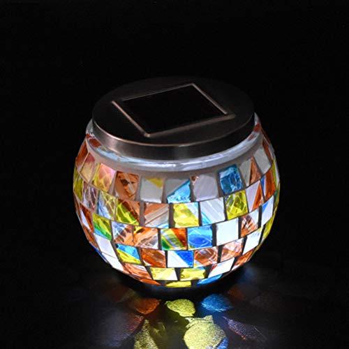 Mobestech 2 x solarbetriebene Garten-Mosaik-Glaskugel-Lichter, LED, wasserdicht, bunt, solarbetrieben, Tischlampe, dekoratives Mosaikglas, Laterne für Hof, Hof, Party-Ornamente