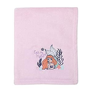 Disney The Little Mermaid Pink & Coral Ariel Cute by Nature Super Soft Baby Blanket, Pink, Coral, Navy,