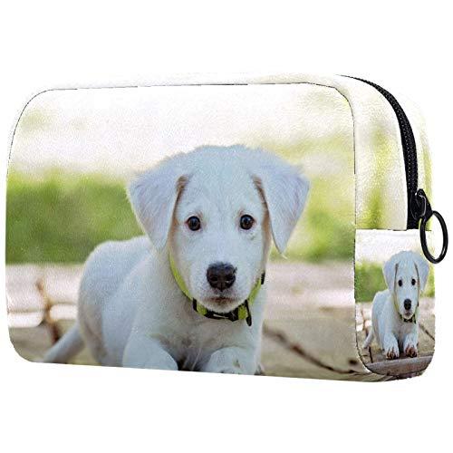 Neceseres de Viaje Perro Blanco Animal Lindo Portable Make Up Bags Neceser de Práctico Bolsa de Lavado de Baño Viajes Vacaciones Fiesta Elementos Esenciales 18.5x7.5x13cm