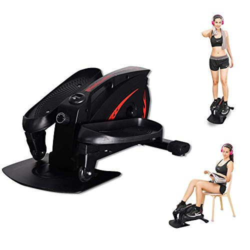 GREARDEN Under Desk Elliptical Machine, Mini Cycle Exercise Bike, Desk Electric Elliptical Machine Trainer with Non-Slip Pedal, Display Monitor & Adjustable Resistance for Home Office Workout (Black)
