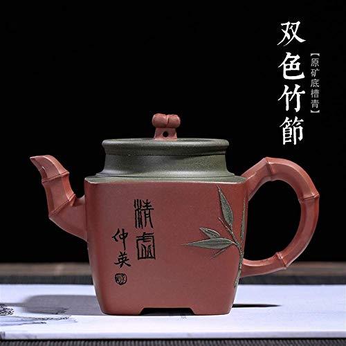 KANJJ-YU Tetera mineral de la parte inferior de la ranura de la República Verde Azul Color Puro de la Mano de bambú Cajas de té de nombre her