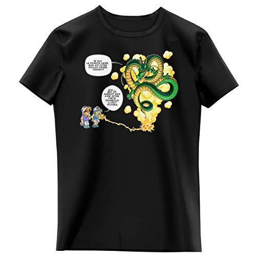 T-shirt Enfant Fille Noir parodie Dragon Ball Z - DBZ - Shenron et les pétanqueurs marseillais - La Pétanque, c'est sacré ! (T-shirt enfant de qualité premium de taille 5-6 ans - imprimé en France)