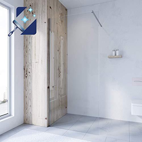 AQUABATOS® 100 x 200 cm Walk in Dusche Duschwand Glas Duschabtrennung Duschtrennwand Glastrennwand Glaswand 8 mm Echtglas ESG mit NANO Beschichtung