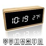Alfheim Digitaler Wecker aus Holz Bambus LED Licht - 12/24Hr - Schreibtischspiegel HD Display Uhr...