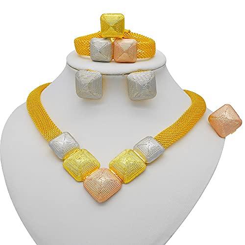 QXZ-WOLFBERRY Nigeria Dubai 24k Joyas de Color Dorado Conjuntos de Novia Africano Regalos de Boda Fiesta para Mujeres Pulsera Collar Pendientes Set (Metal Color : BJ911-2)