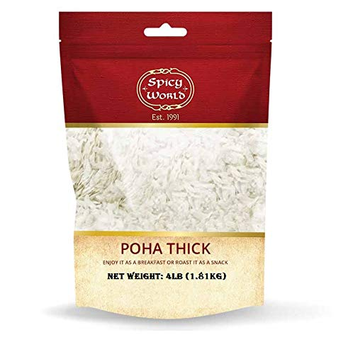 Spicy World Poha (Powa) Thick Medium Cut Flattened Rice - 4 Pound Bulk Bag - LARGE, Vegan, Salt Free, Indian