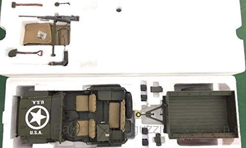 NEW PREMIUMX PR8-0010 Jeep Willy's Olive 1943 with Trailer 1:8 MODELLINO DIE CAST