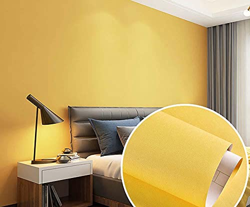 xiaoshun Papel Tapiz de Pared Dormitorio Impermeable Papel Tapiz etileno doormition Fondo Pared Simple Fondo de Pantalla-0.6 * 5m_Limon Amarillo