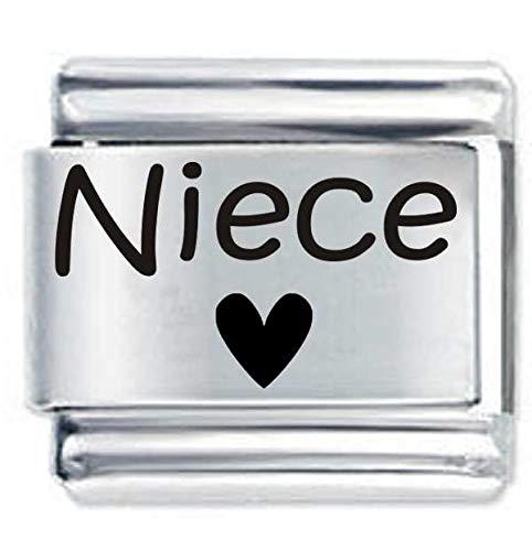 Niece Heart ETCHED Italian Charm Fits all 9mm Italian Style Charm Bracelets