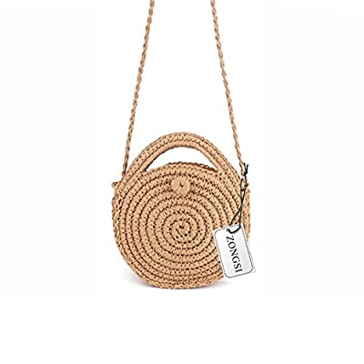 Zongsi Mini Handmade Round Straw Beach Bag Shoulder bag for women