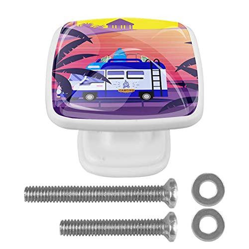 Perillas cuadradas de plástico con diseño lindo de aspecto moderno Coche al atardecer en la playa Tirador de puerta para armario, cajón, armario, 4 paquetes 3x2.1x2 cm