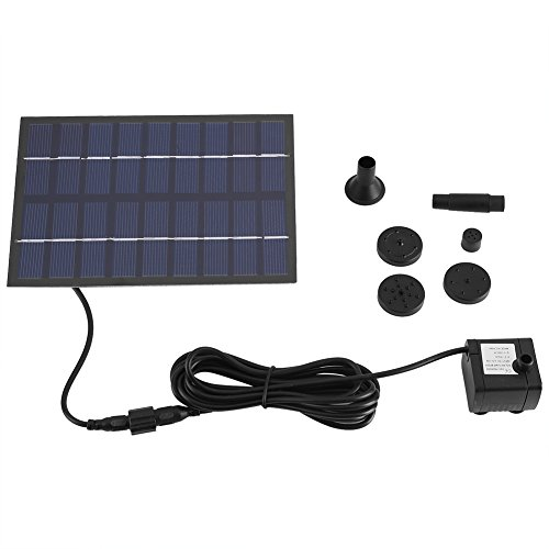 Bomba de agua de panel solar con accesorios, bomba de fuente de agua con energía solar de alta eficiencia, tanque de peces, estanque, piscina, kit de riego para el jardín en casa