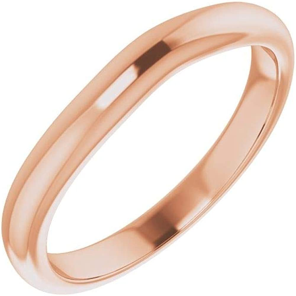 Solid 14K Rose Gold Curved Notched Wedding Band for Band 6 x 4mm Ring Guard Enhancer - Size 7