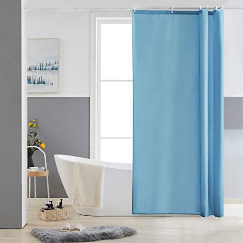 Furlinic Schmaler Duschvorhang für Eck Dusche & Kleine Badewanne, Badvorhang Textil aus Polyester Stoff schimmelresistent Wasserabweisend & Waschbar, Hellblau 85x180 mit 6 Duschvorhangringen.