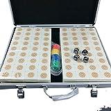 Mah Jong Inicio Frotado De Manos Mahjong Mahjong Azulejos For Los Partidos En Casa Mahjong For Ajedrez Y Cartas 144 Piezas Caja De Aluminio (Color : A, Size : 42#)
