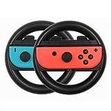 ハンドル ジョイコン対応 ドライブ用 マリオカート(Joy-Con) コントローラー 2個 セット KGYA (黒)