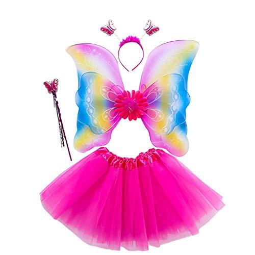 4-teiliges Feen-Kostüm-Set für Mädchen, Regenbogen-Flügel, drei Lagen, Tüll, Tutu, Rock, Kleid, Zauberstab, Stirnband für Prinzessinnen, Cosplay, Party, 3–8 Jahre Gr. One size, 6