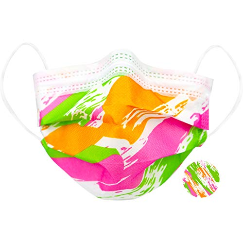 Wellsamed wellsamask Design Colour Line medizinischer Mundschutz, Mund und Nasenschutz, OP-Masken, Einweg, 50 Stück, CE/EN 14683 Typ IIR, 3-lagig, Hawaii-Pink