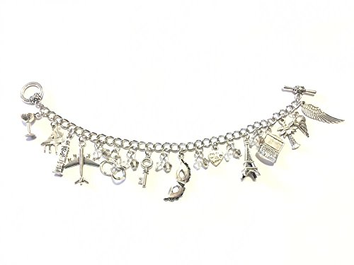 Giulyscreations Bracelet en métal sans nickel avec 50 nuances de gris noir rouge Christian Grey Anastasia Steel Saga Fifty Shades Cosplay