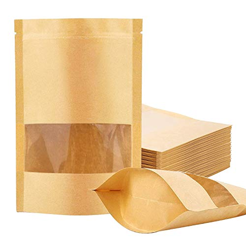100 Pcs Kraft Paper Bags with Window, 7.9
