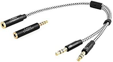 Headset Splitter Cable, CableCreation 3.5mm Female to 2 Dual 3.5mm Male Audio Y Splitter Cable with 3.5mmAudioJackCTIAtoOMTPAdapter,BlackandWhite/0.2M