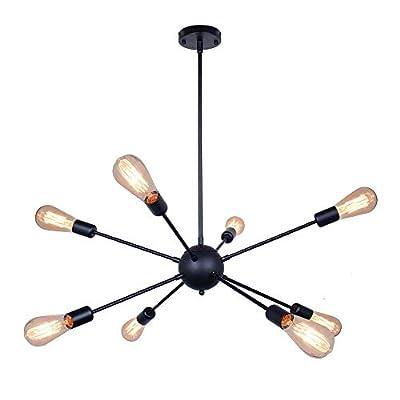 Sputnik Chandelier Black Ceiling Lighting Metal Retro Industrial Vintage Pendant Lighting with 8 Lights use E26 Light Bulb for Indoor ?8lights-Black?