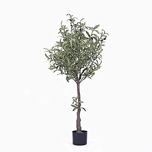 MyWheelieBin Simulación De La Decoración del Árbol Falso del Olivo Planta Verde Grande Árbol Falso Salón Piso Bonsai Planta En Maceta Interior Olivo de 1,3 m (Incluidas macetas)