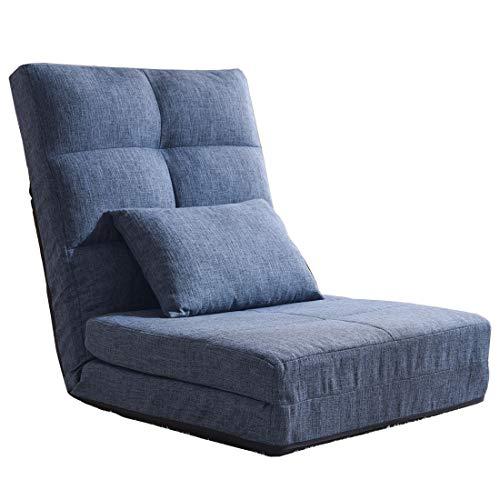 タンスのゲン ソファーベッド 3WAY 1人掛け 14段階調節 ハイバック クッション付き 座椅子 フロアソファー ローソファー ソファーマットレス ソファベッド ネイビー 15210053 00 (64988)